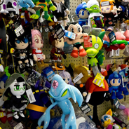 Collectible plushies on display