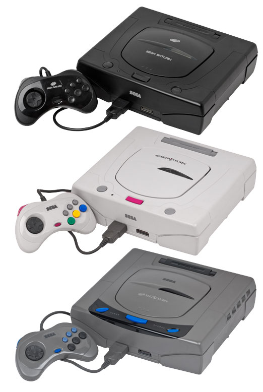 An image of three US and Japanese Sega Saturn Consoles
