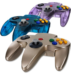 A multitude of colorful N64 controllers
