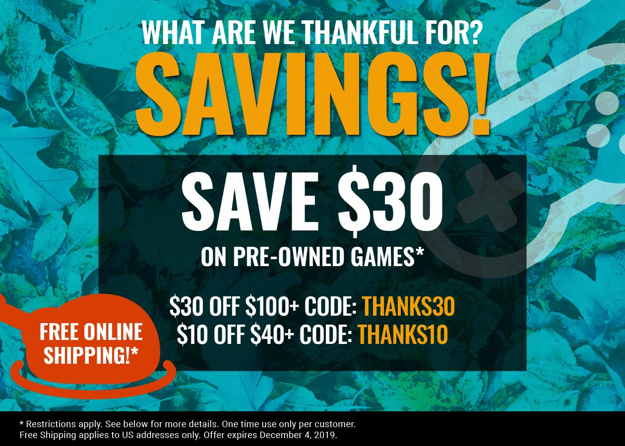 Thanksgiving savings on pre-owned games