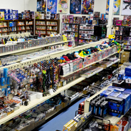 Aisles of games and merchandise